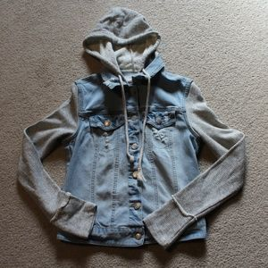 Distressed Jean Jacket with Striped Sleeves Small